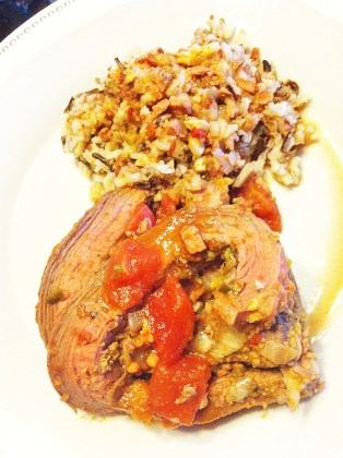 Beef Morcon with Wild Rice