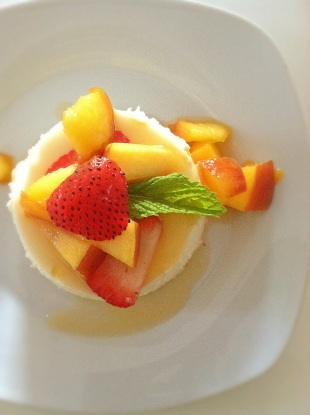 Panna Cotta Mousse with Season Fresh Fruits and Grand Marnier