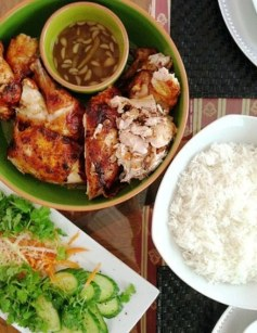 Chicken Inasal with coconut vinegar dip alongside Asian Slaw and Basmati Rice