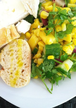 Spicy Mango Salad with French Bread and Cheese