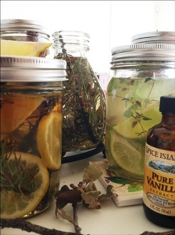 Natural Room Fresheners all with tap water added ready for storing and/or freezing Left to Right: Lemon, Rosemary & Vanilla; Lavender Vanilla; Lime, Thyme, Mint & Vanilla