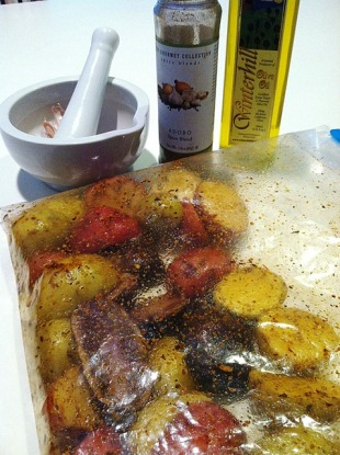 Baby Potato Medley marinating in Adobo Spice and Garlic Olive Oil
