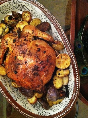 Adobo Spice Roasted Chicken with Potatoes and Rosemary