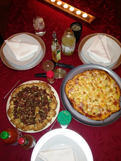 Family homemade pizza night