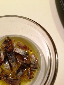 Organic garlic olive oil and sea salt anchovies infusion