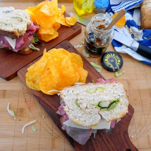 Wheat Grain Avocado Bread Sandwiches on Board