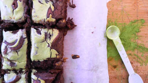 Matcha Cocoa Brownies