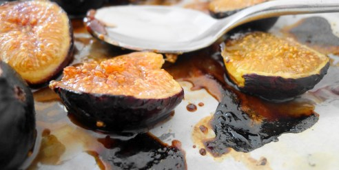 Figs with brown sugar, balsamic vinegar, and rum drizzle
