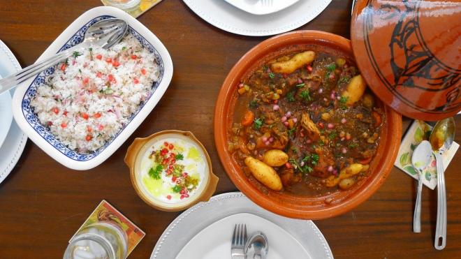 Moroccan Chicken with Pomegranate Yogurt Dip & Rice