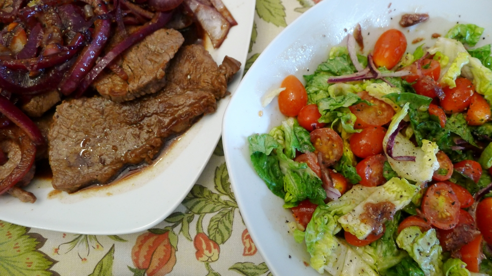 Bistek with Tomato & Anchovy Salad