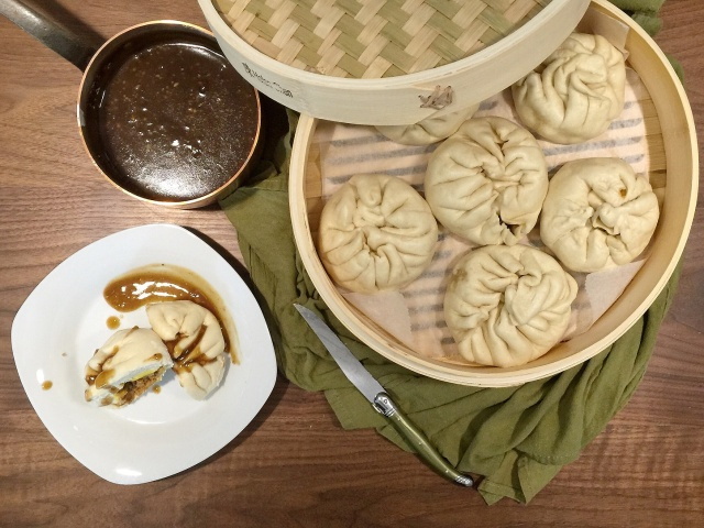 Pork with Egg Siopao and Dipping Sauce