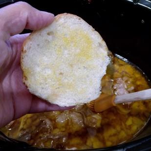 Brush adobo fat on top half of slider buns