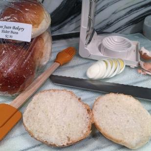 Slider buns & hard-boiled eggs prep